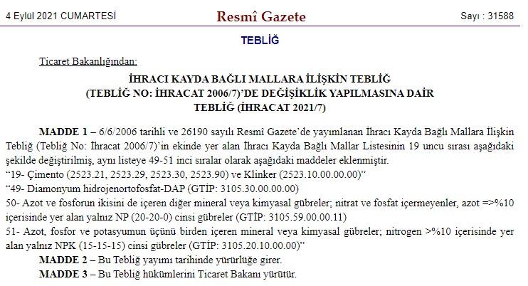 Çimento İhracatına Resmi Gazete Düzenlemesi Geldi (04.09.2021)